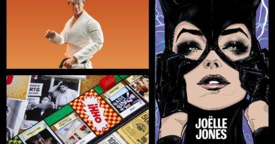 3 ürün: Cobra Kai figürleri, The Sopranos Monopoly seti, Joëlle Jones posterleri