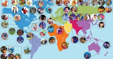 Disney ve Pixar filmlerini gösteren harita